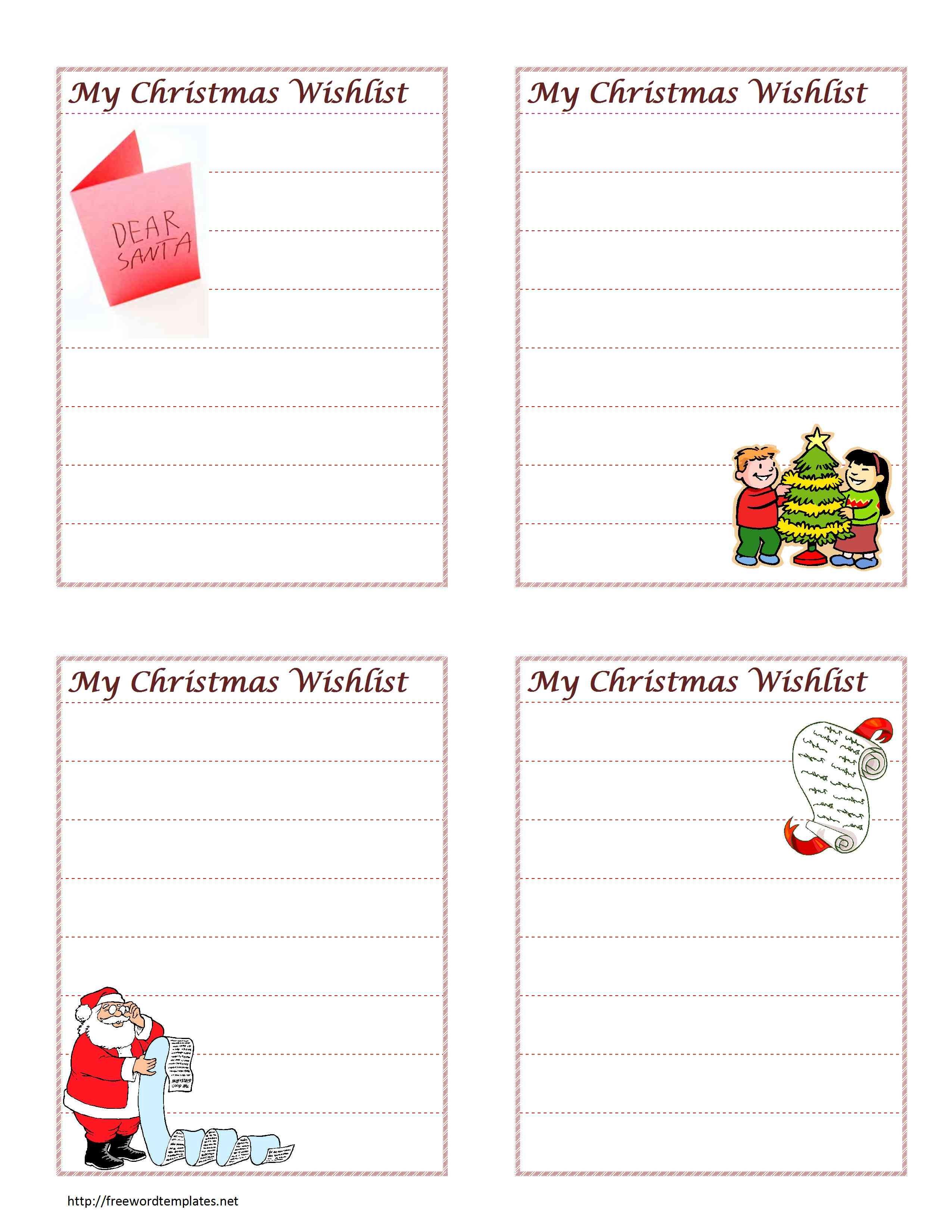 Christmas Wish List For Christmas Card List Template