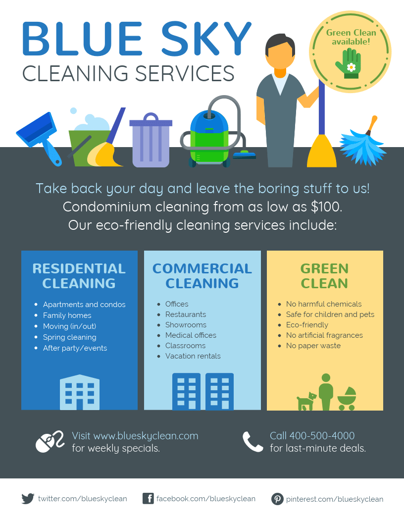 Cleaning Service Flyer  Present Your Cleaning Services The Best Within Flyers For Cleaning Business Templates