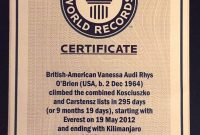 Climbing Certificates  Vanessa O'brien inside Guinness World Record Certificate Template