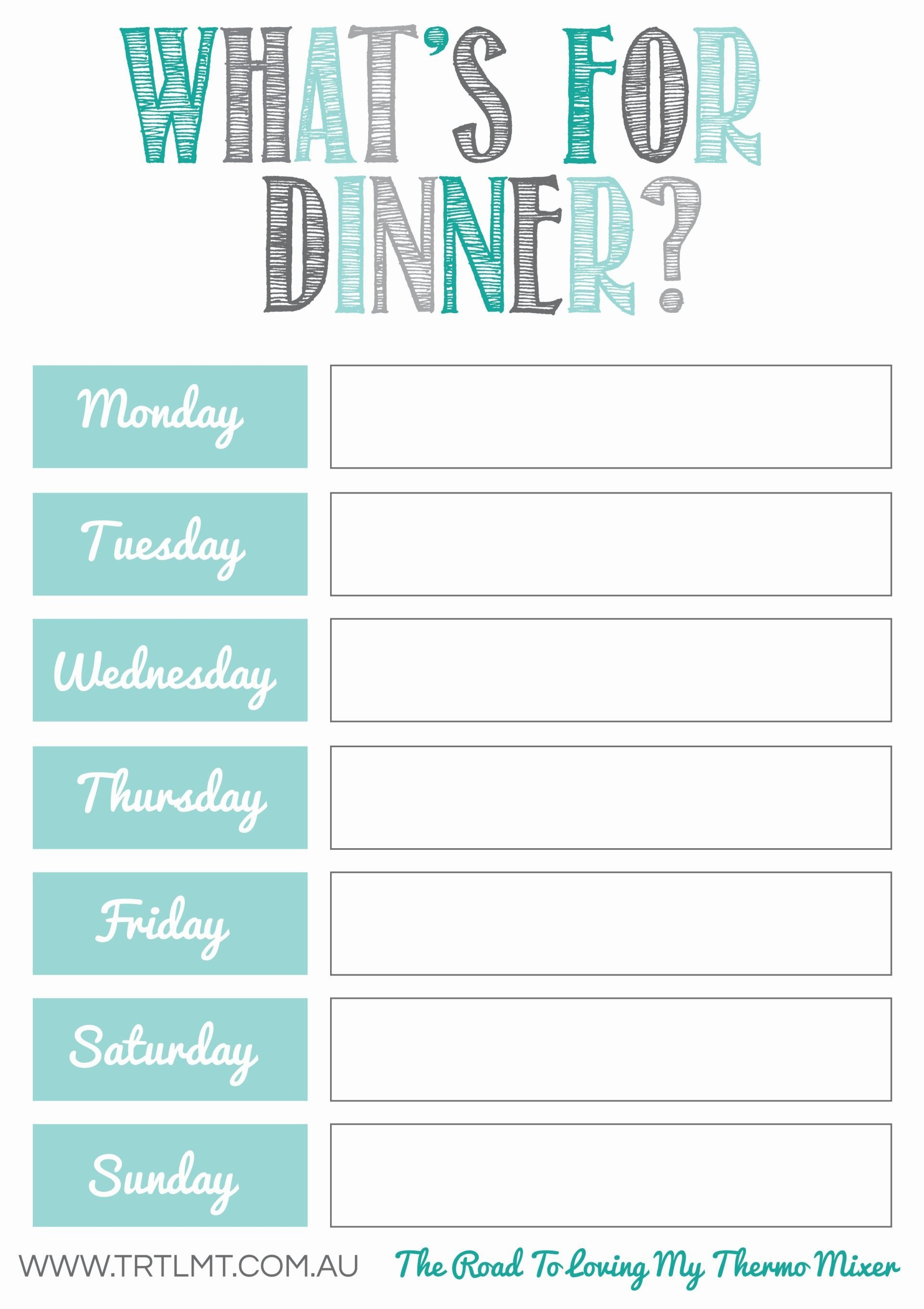 Clip Recipe Cards To It With Magnetic Clips And Hang On Fridge Regarding Weekly Dinner Menu Template