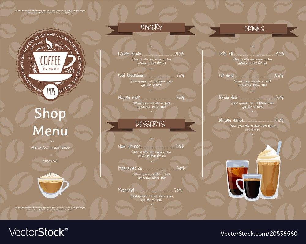 Coffee Shop Horizontal Menu Template Royalty Free Vector Inside Horizontal Menu Templates Free Download