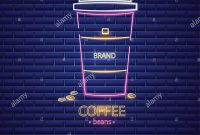 Coffee Shop Neon Sign Vector Glowing Coffee Cup To Go Symbol Dark in To Go Menu Template