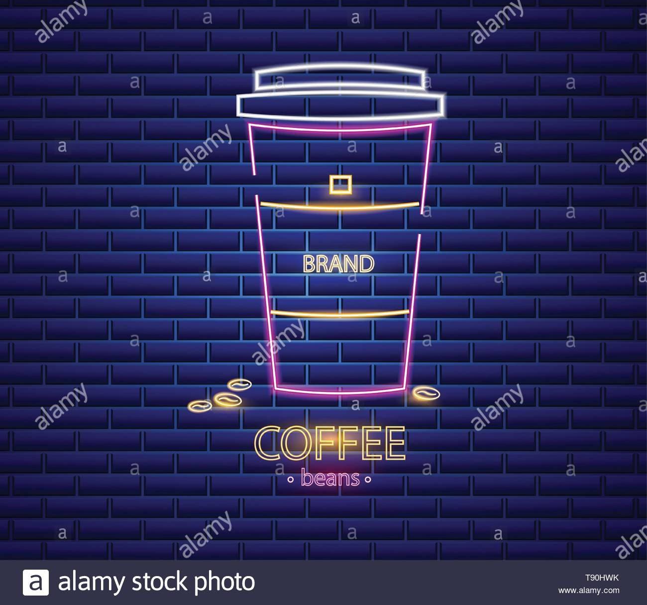 Coffee Shop Neon Sign Vector Glowing Coffee Cup To Go Symbol Dark In To Go Menu Template