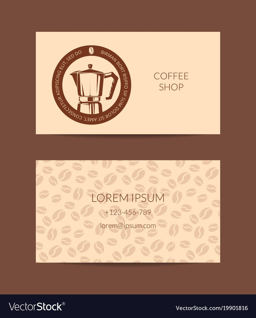 Coffee Shop Or Company Business Card Royalty Free Vector Throughout Coffee Business Card Template Free
