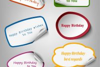 Collection Of Colorful Birthday Stickers Template Vector Image within Birthday Labels Template Free