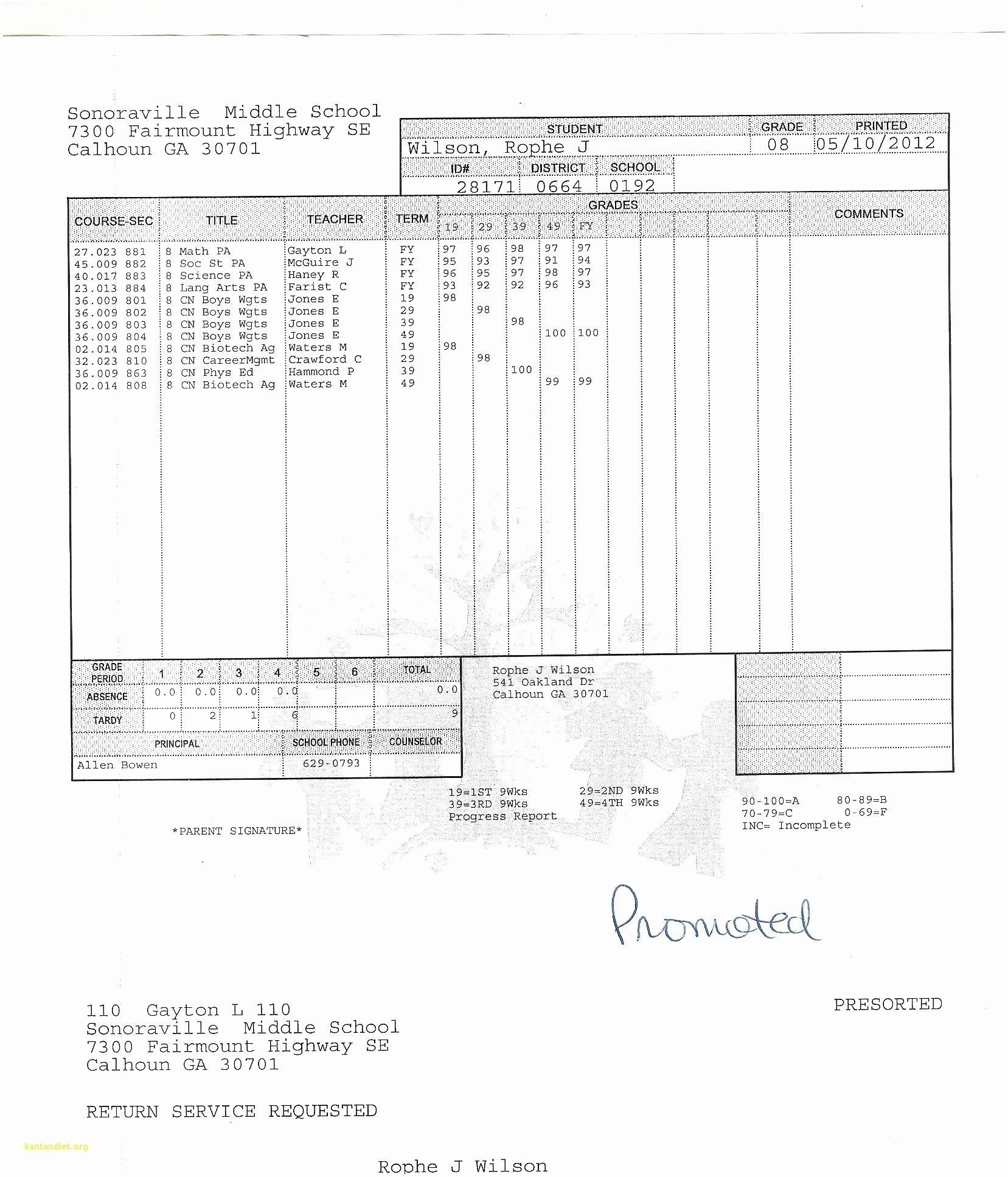 College Report Card Template Fake Elegant Student Free Download Within College Report Card Template