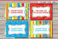 Colorful Food Labels  Place Cards  Printable Birthday Party with Food Label Template For Party