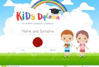 Colorful Kids Summer Camp Diploma Certificate Template In Cartoo pertaining to Summer Camp Certificate Template