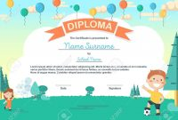 Colorful Kids Summer Camp Diploma Certificate Template In Cartoon in Summer Camp Certificate Template