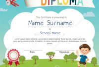 Colorful Kids Summer Camp Diploma Certificate Template Stock Vector within Summer Camp Certificate Template