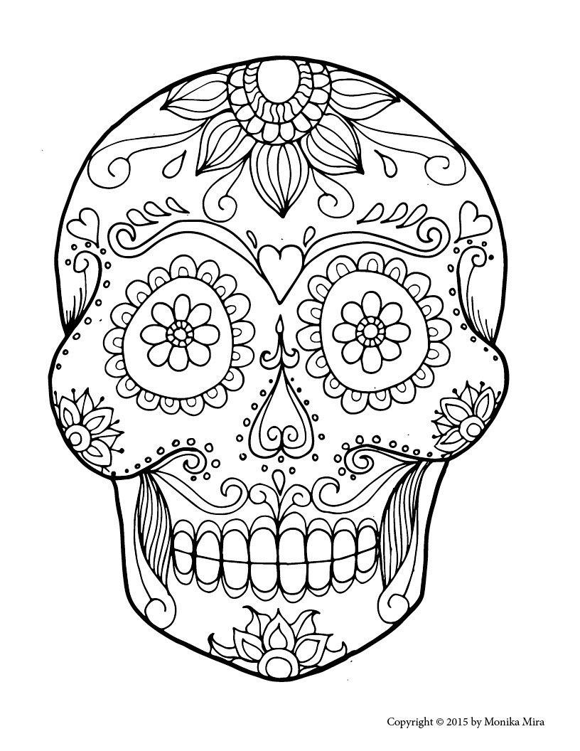 Coloring Marvelous Sugar Skull Coloring Sheets Free Printable Throughout Blank Sugar Skull Template