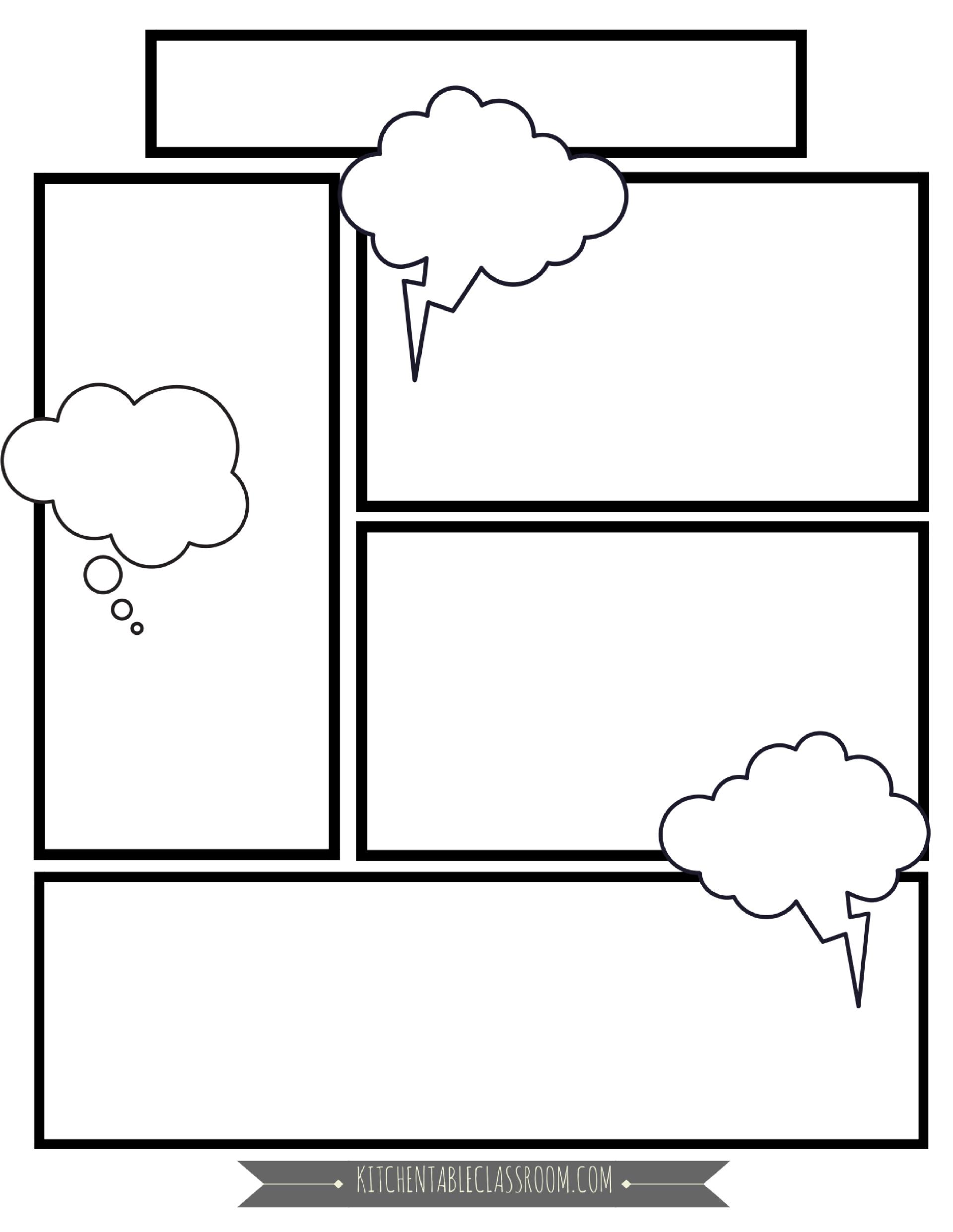 Comic Book Templates  Free Printable Pages  תכנים  Comic Book With Regard To Printable Blank Comic Strip Template For Kids