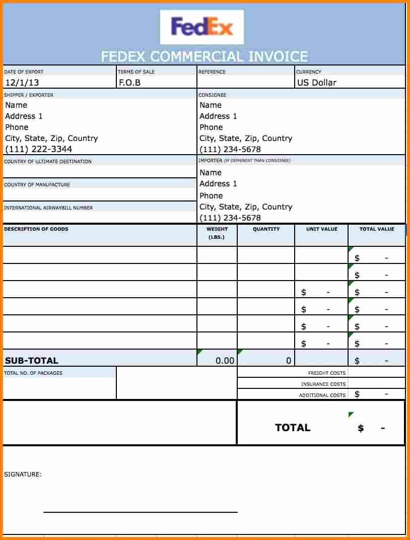 Commercial Invoice Proforma Invoice Fedex Sample – Wfacca Regarding Fedex Proforma Invoice Template
