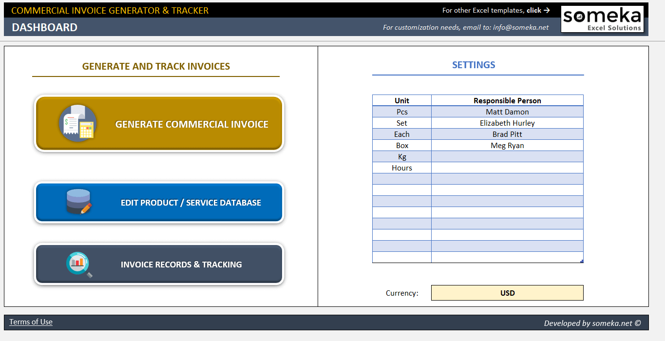 Commercial Invoice Template  Excel Invoice Generator  Tracker Tool Inside Invoice Tracking Spreadsheet Template