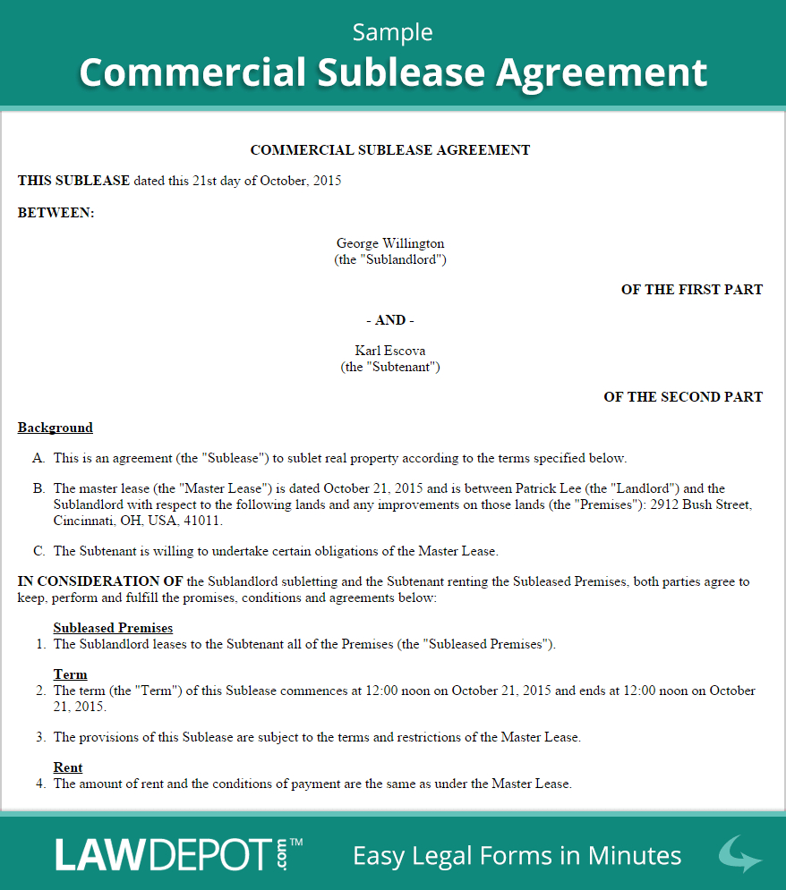 Commercial Sublease Agreement Template Us  Lawdepot Intended For Free Commercial Sublease Agreement Template