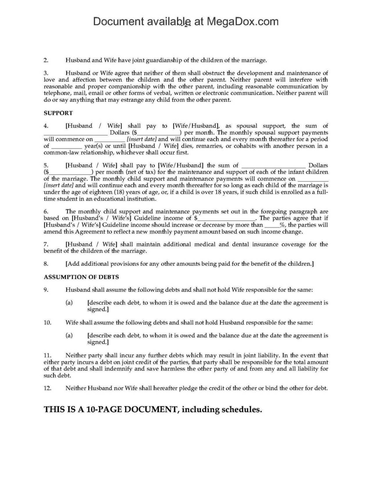 Common Law Separation Agreement Template  Sampletemplatess For Common Law Separation Agreement Template