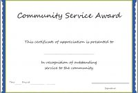 Community Service Certificate Template Length Of Best Good Ocean pertaining to Recognition Of Service Certificate Template