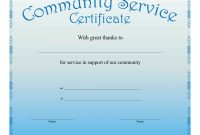 Community Service Certificate Template with This Certificate Entitles The Bearer Template