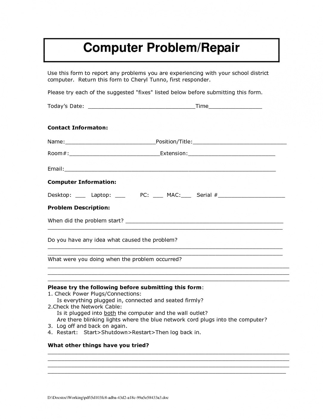 Computer Maintenance Report Template For Computer Maintenance Report Template