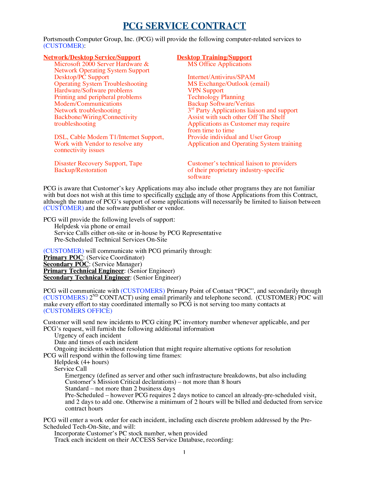 Computer Support Computer Support Agreement Sample  Software Intended For Disaster Recovery Service Level Agreement Template