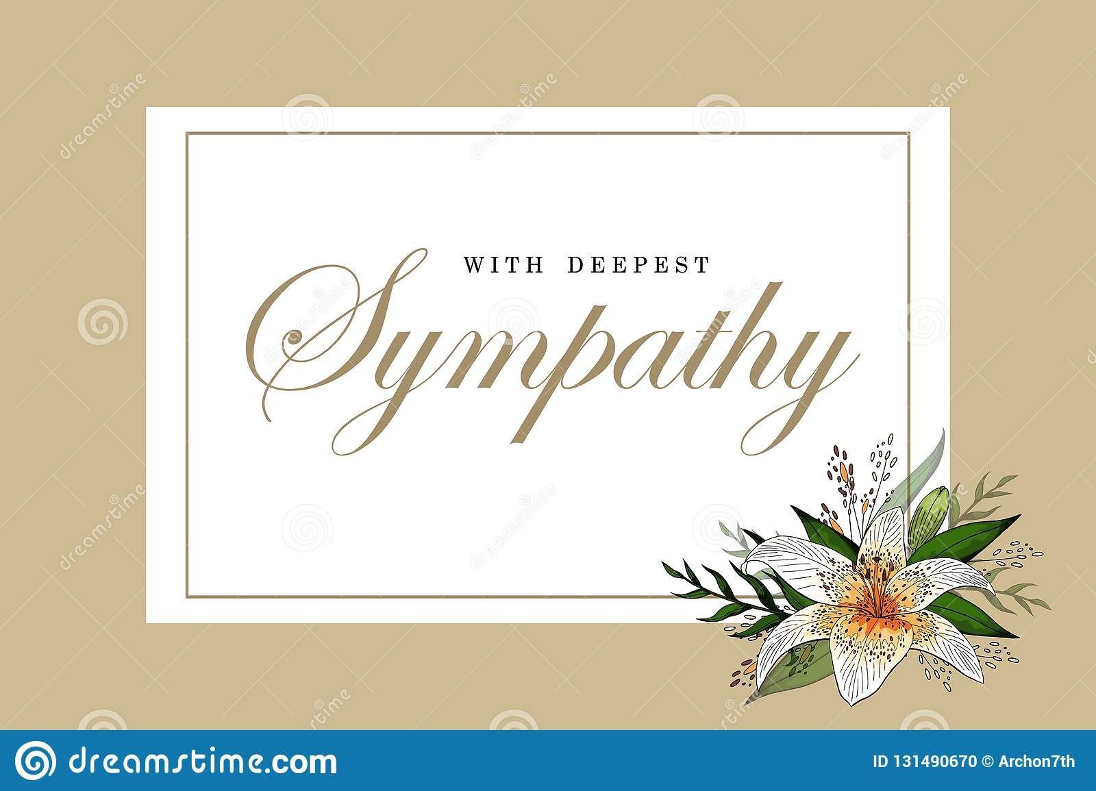 Condolences Sympathy Card Floral Lily Bouquet And Lettering Stock Within Sympathy Card Template