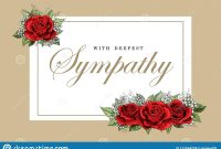 Condolences Sympathy Card Floral Red Roses Bouquet And Lettering in Sympathy Card Template