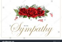 Condolences Sympathy Card Floral Red Roses Stock Vector Royalty regarding Sympathy Card Template