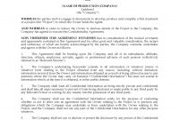 Confidentiality Agreement For Film Project  Legal Forms And with regard to Film Non Disclosure Agreement Template