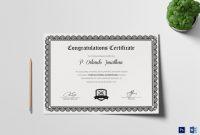 Congratulations Certificate Design Template In Psd Word with Congratulations Certificate Word Template