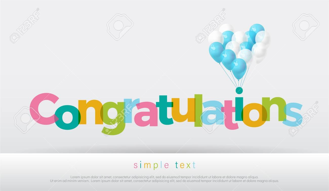 Congratulations Colorful With Balloons On White Background Regarding Congratulations Banner Template