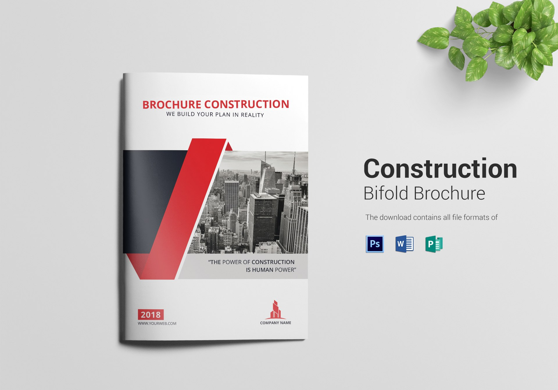 Construction Bi Fold Brochure Design Template In Word Psd Publisher Throughout Two Fold Brochure Template Psd