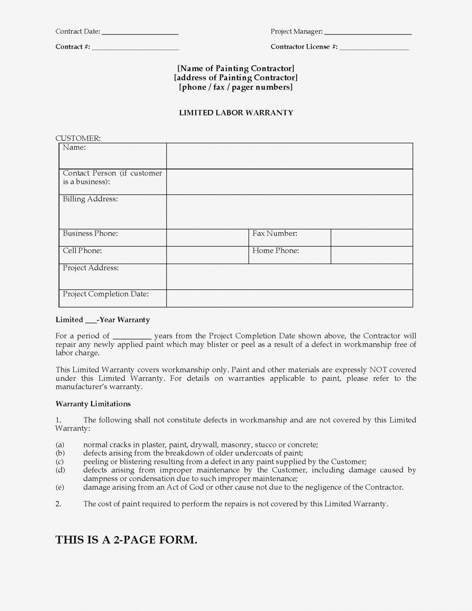 Construction Joint Check Agreement Form Elegant Painting Limited Pertaining To Joint Check Agreement Template