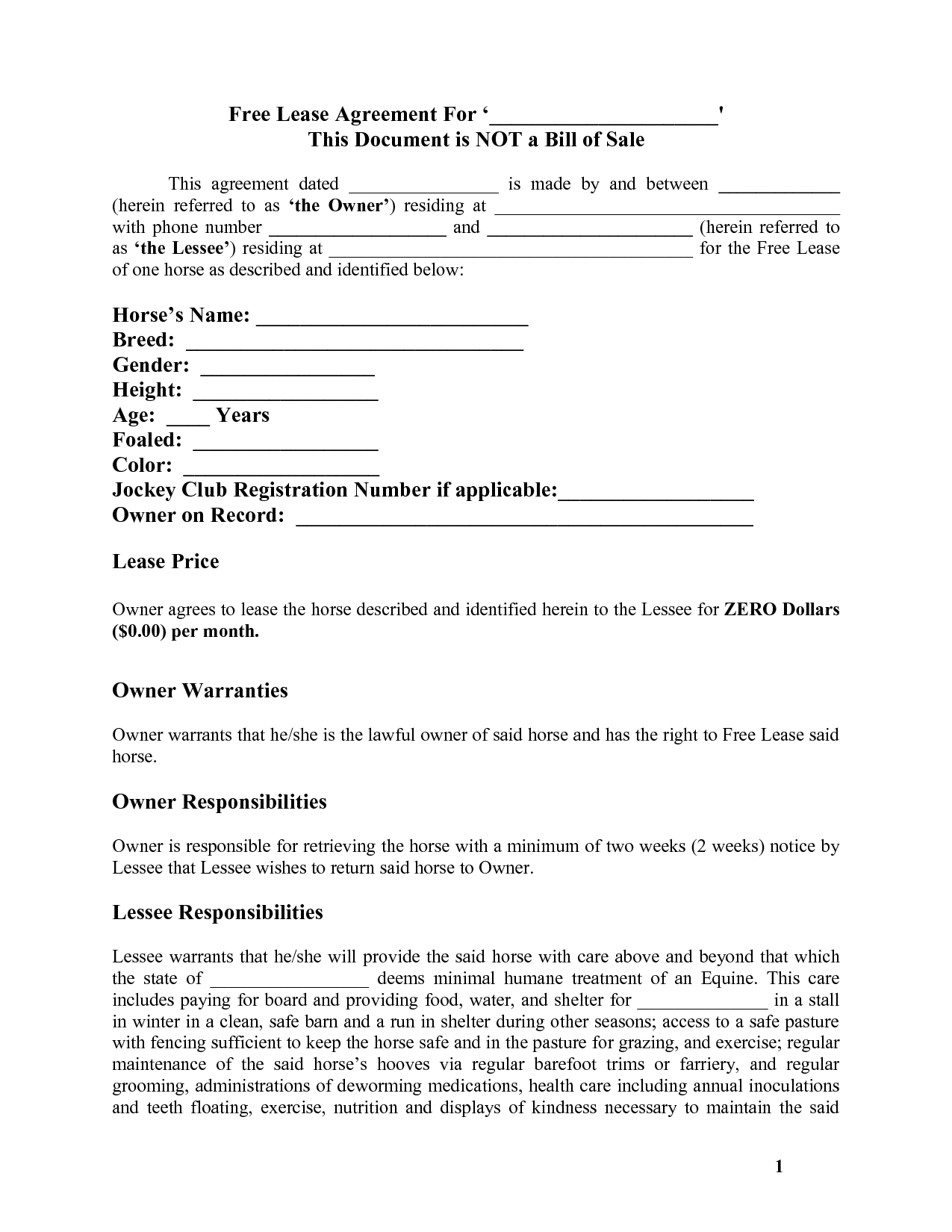 Contract For Rent To Own Home Forms  Free Printable Documents For Horse Stall Card Template