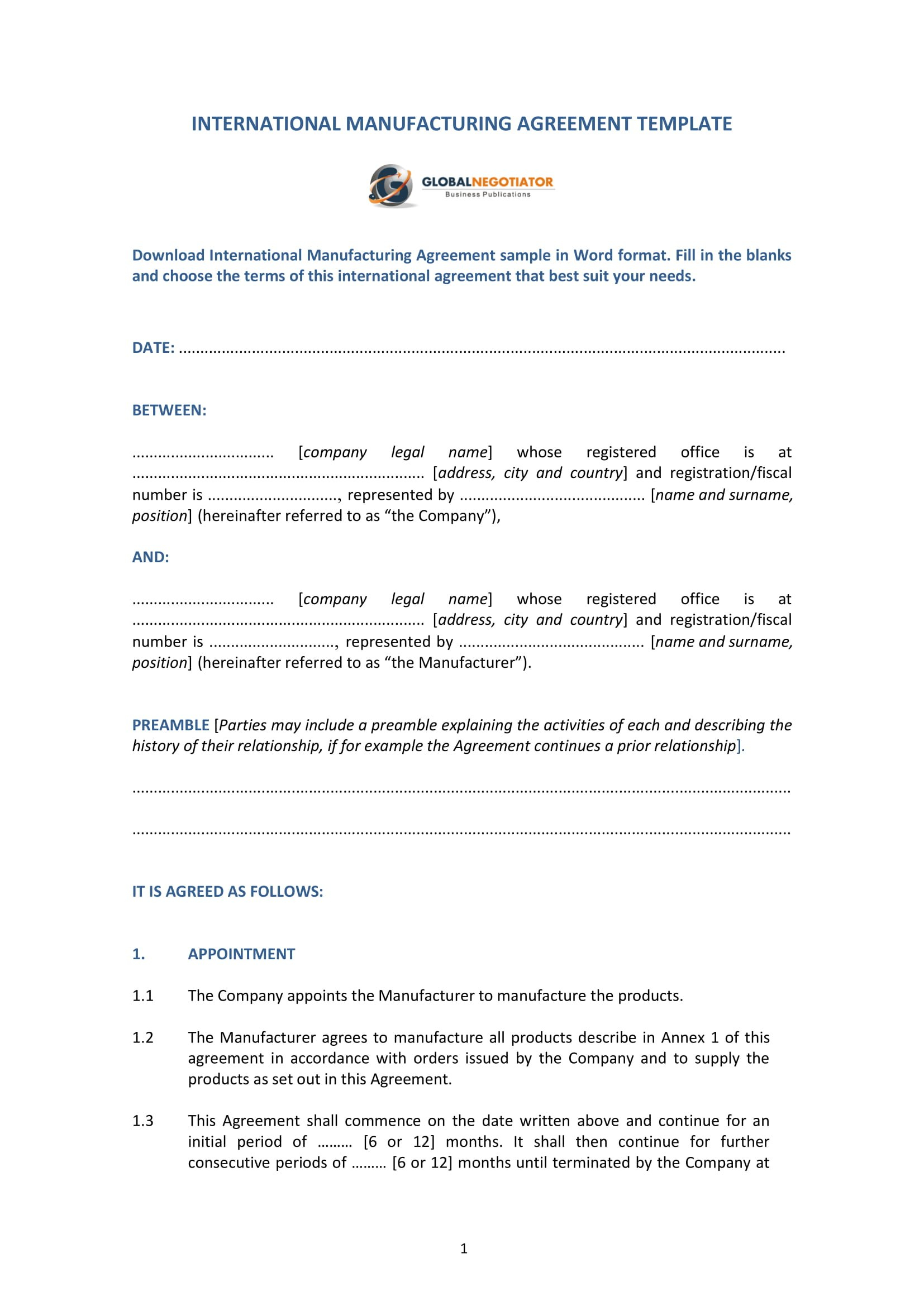 Contract Manufacturing Agreement Template Examples  Pdf Google Pertaining To Toll Manufacturing Agreement Template