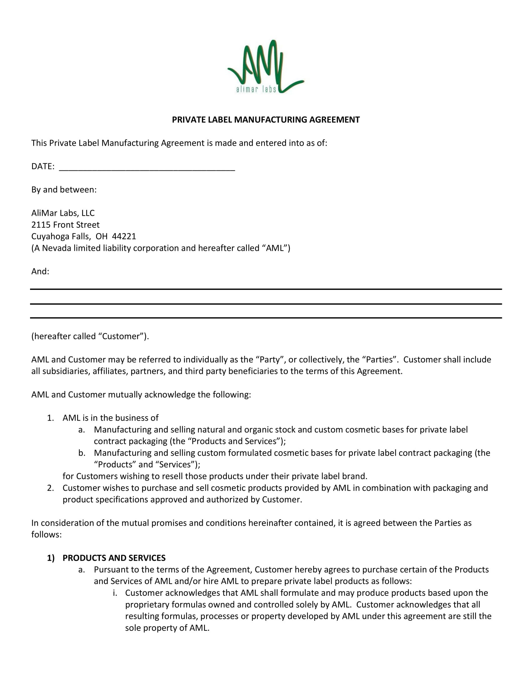 Contract Manufacturing Agreement Template Examples  Pdf Google With Regard To Toll Processing Agreement Template