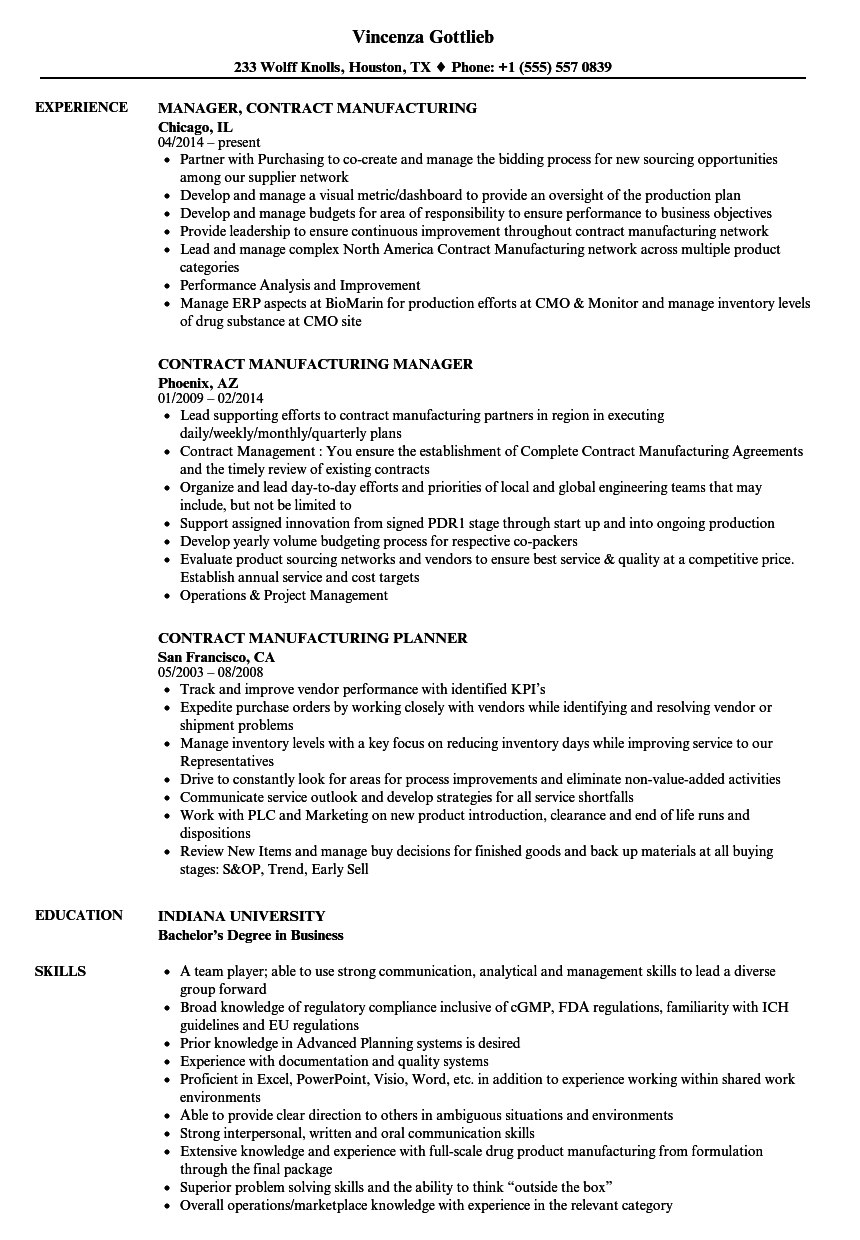 Contract Manufacturing Resume Samples  Velvet Jobs Throughout Toll Processing Agreement Template