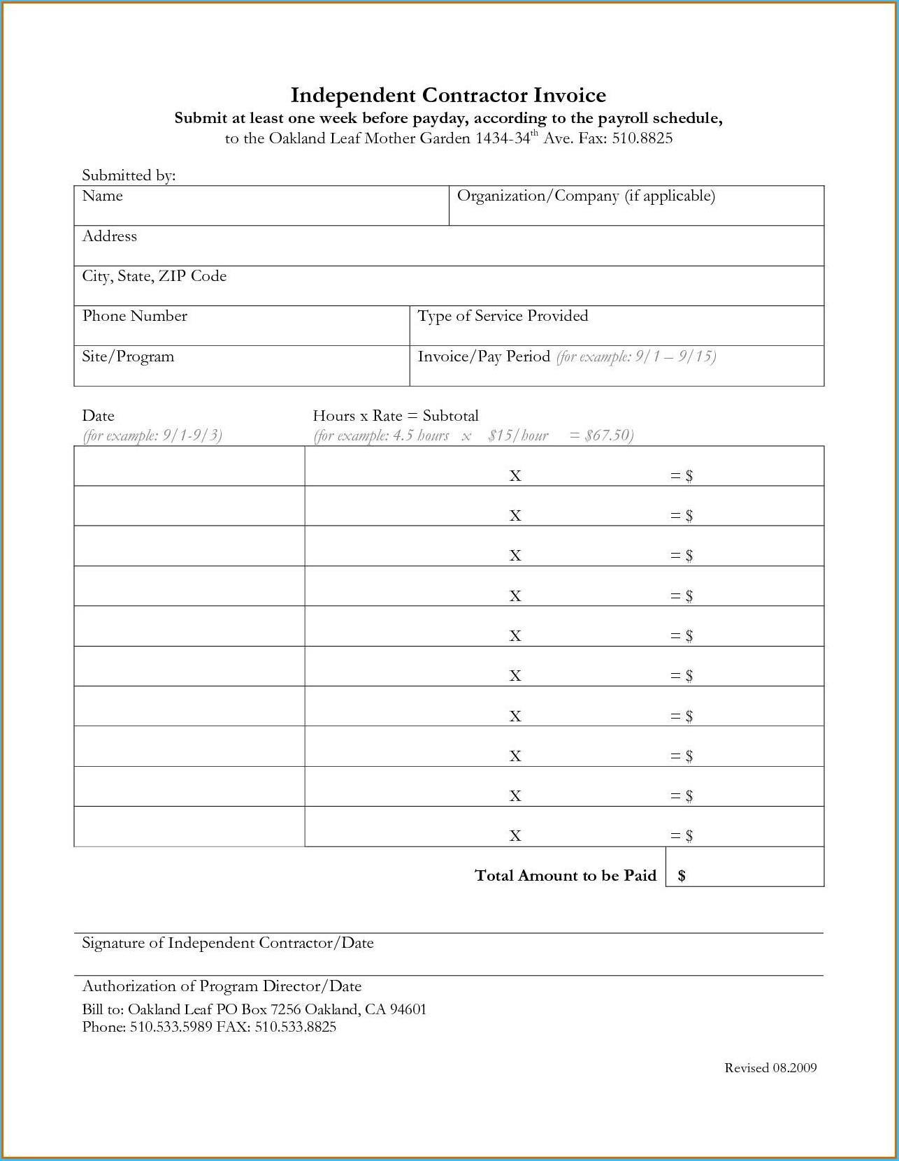 Contractor Invoice Template Inside 1099 Invoice Template