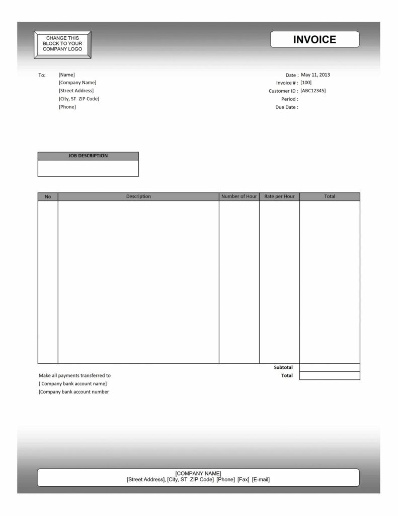 Contractor Invoices Templates And Ms Excel Invoice Template Blank With Invoice Template Excel 2013