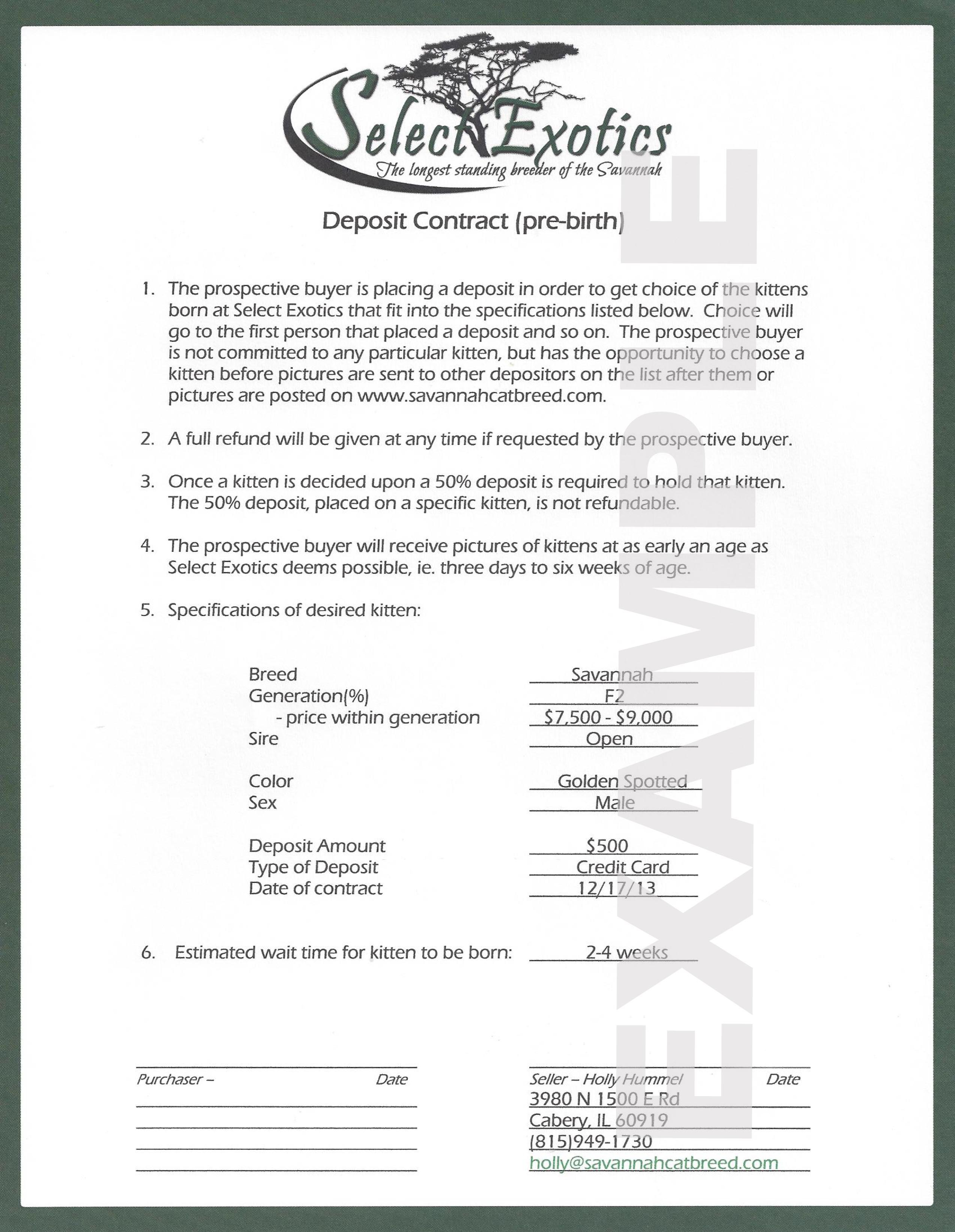 Contracts  Select Exotics  Savannah Cats Intended For Pre Contract Deposit Agreement Template