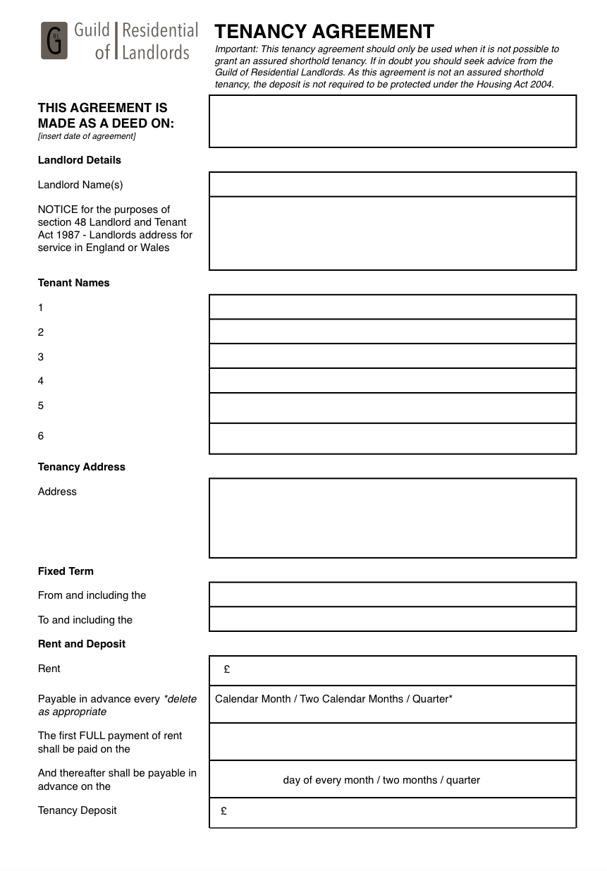 Contractual Commonlaw Tenancy Agreement  Grl Landlord Association Regarding Landlord Lodger Agreement Template