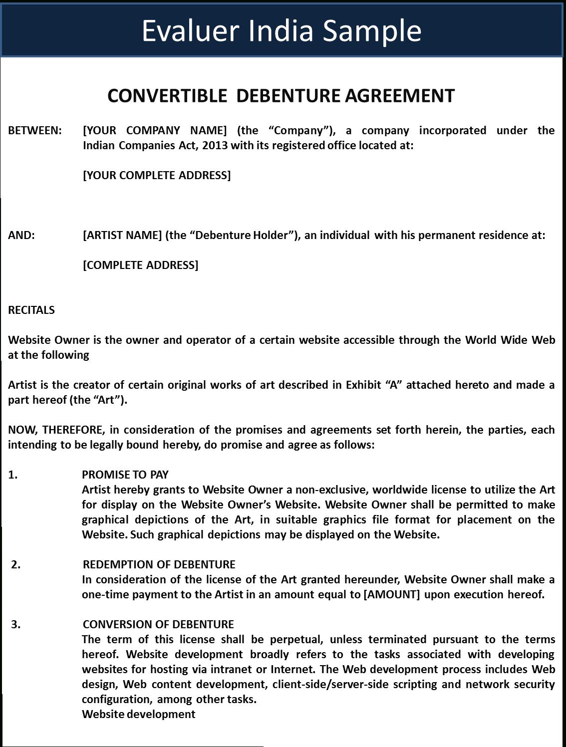 Convertible Debenture Agreement For Convertible Loan Agreement Template