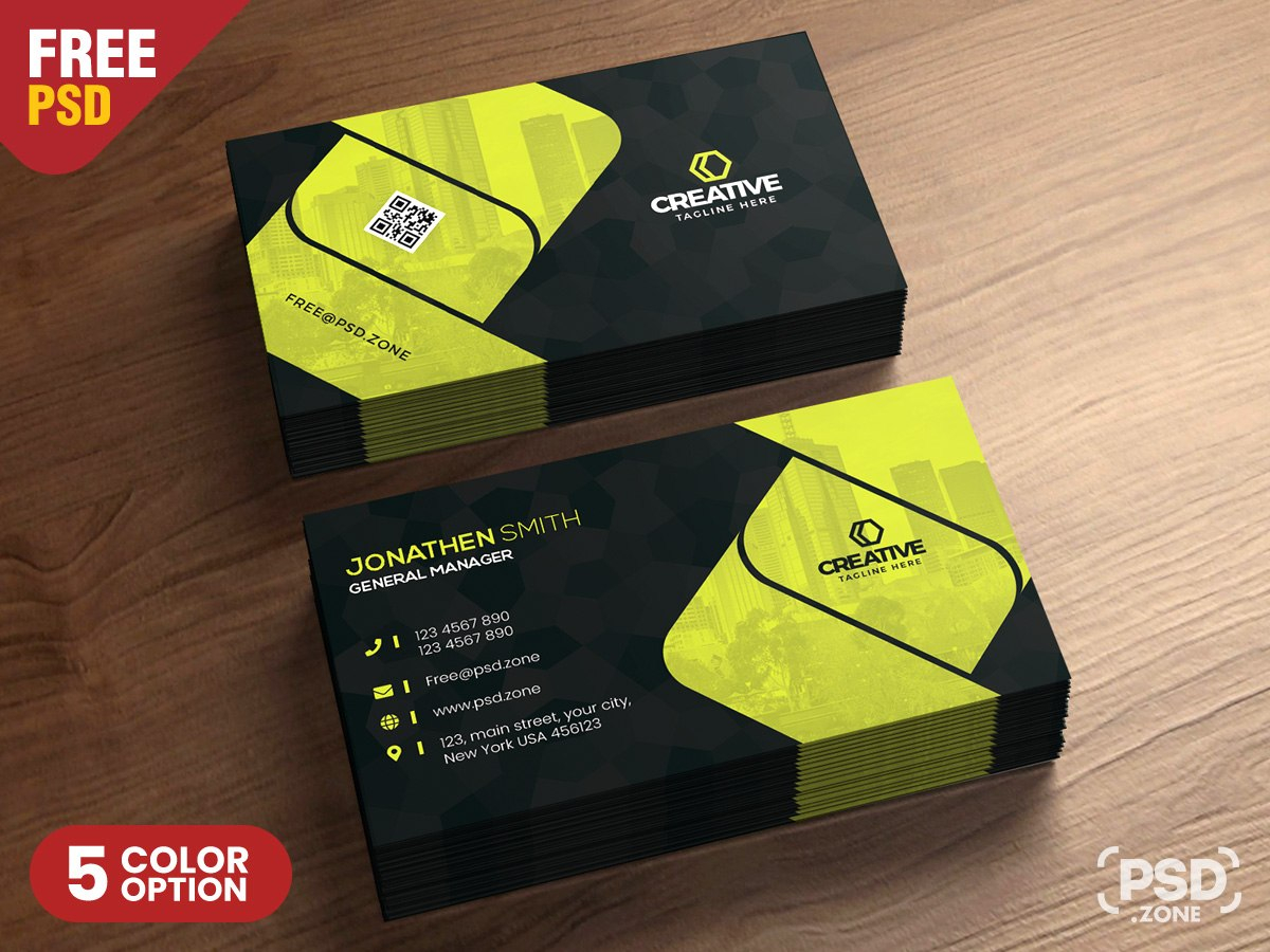 Corporate Business Card Design Psd  Psd Zone Pertaining To Psd Visiting Card Templates