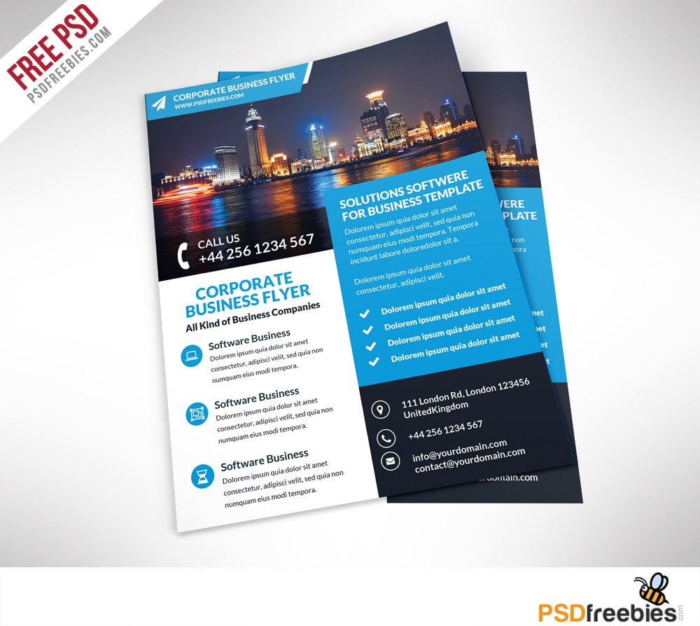 Corporate Business Flyer Free Psd Template Psdfreebiescom For Free Business Flyer Templates For Microsoft Word