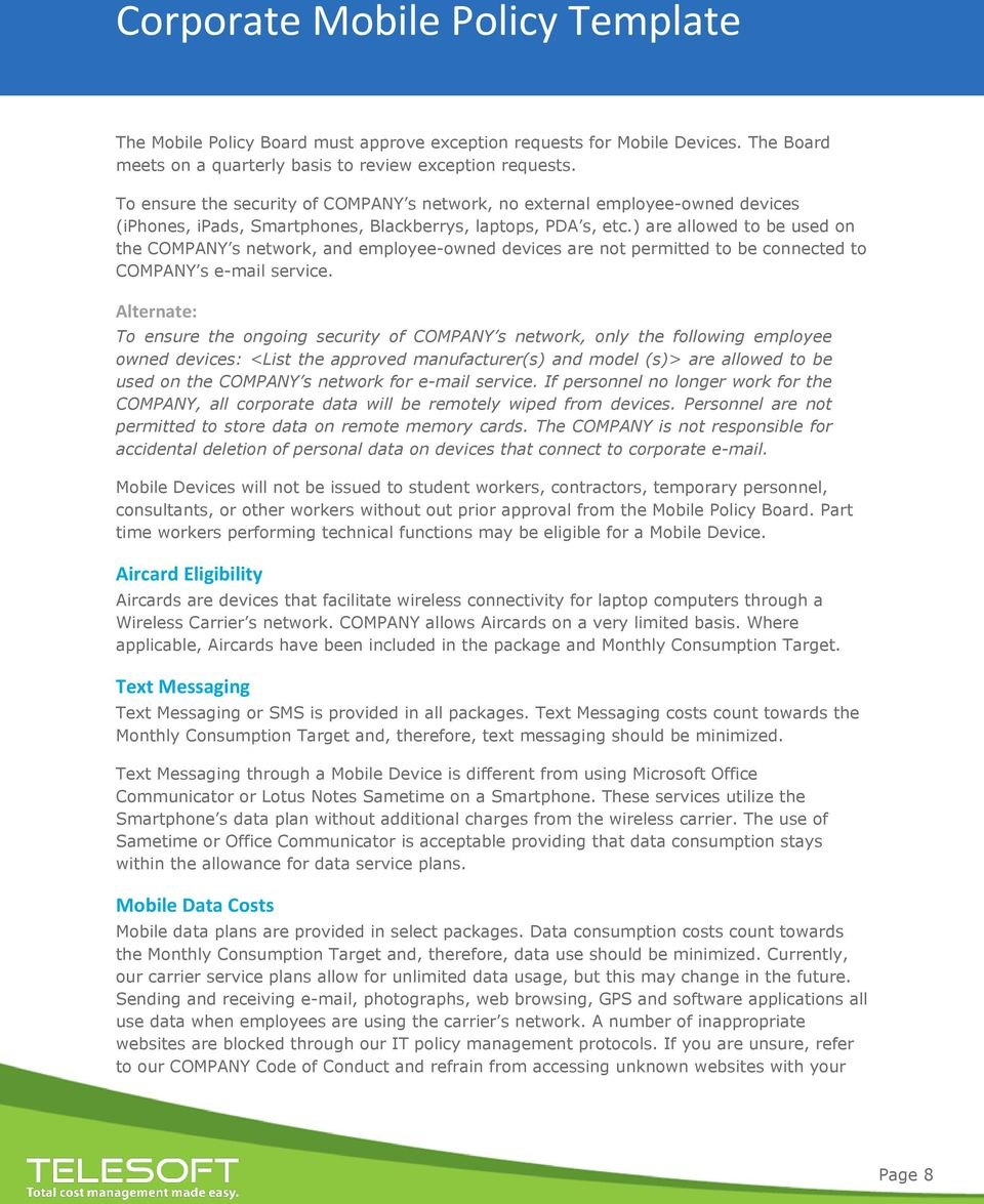Corporate Mobile Policy Template  Pdf Inside Mobile Device Acceptable Use Policy Template