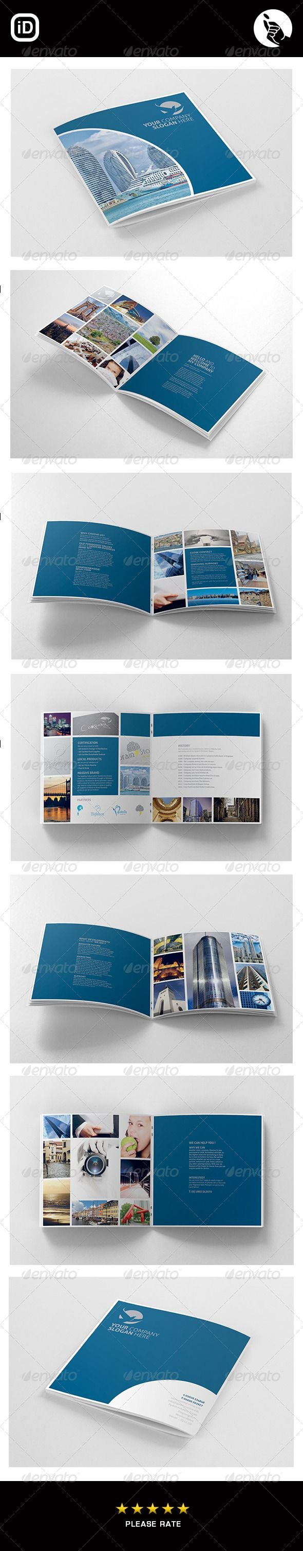 Corporate Square  Page Brochure  Design Layout  Brochure Design Regarding 12 Page Brochure Template