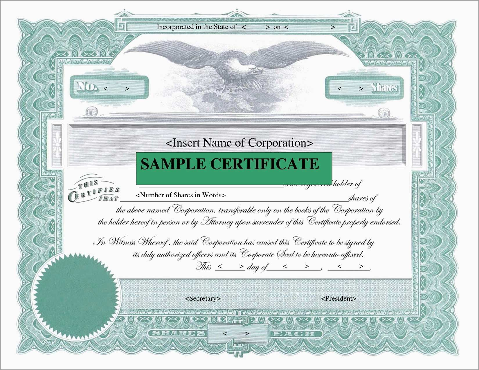 Corporate Stock Certificates Template Free Lovely Downloadable Stock Regarding Corporate Share Certificate Template