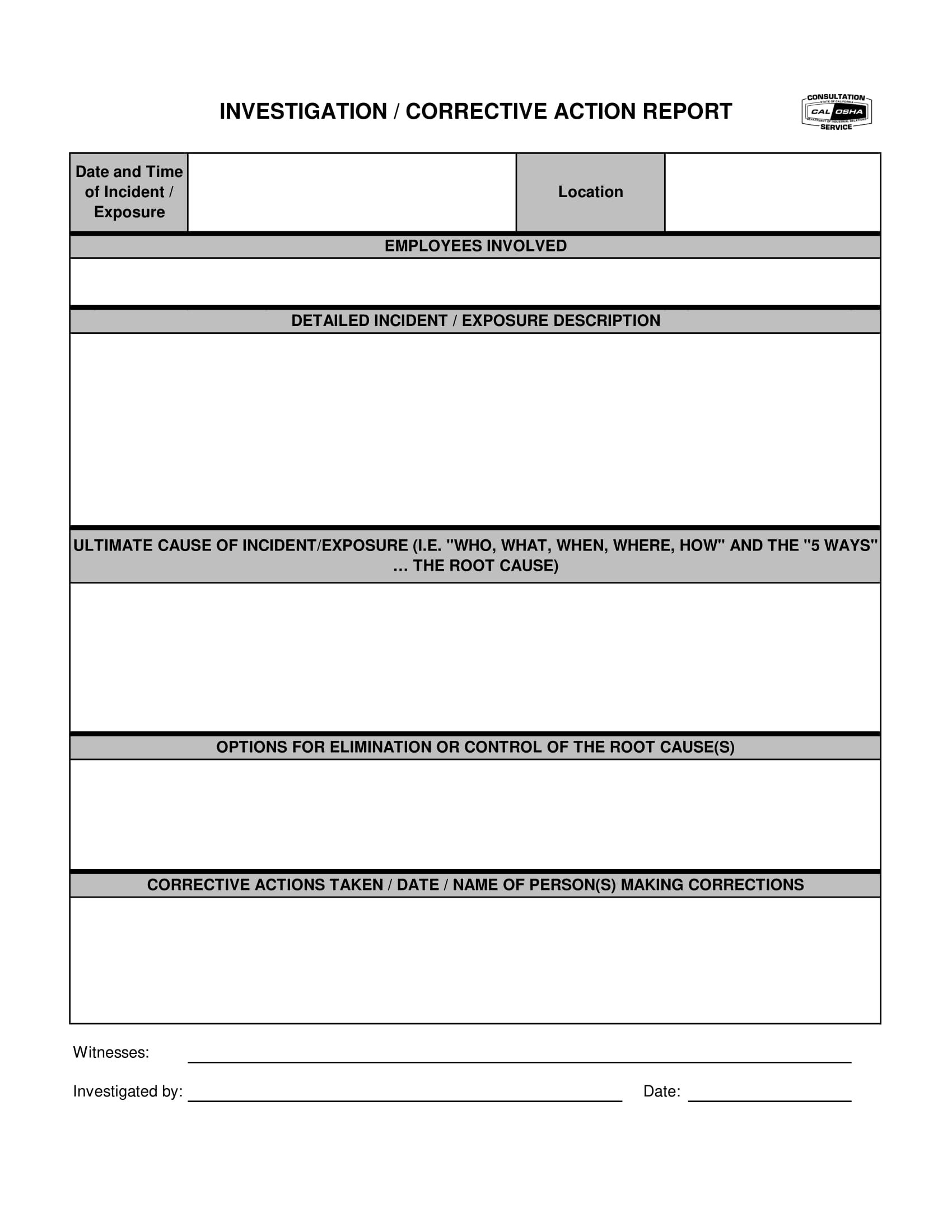 Corrective Action Report Examples  Pdf  Examples With Failure Investigation Report Template