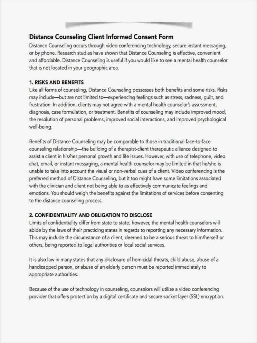 Counseling Consent Forms – Free Sample Example Format Download With Regard To Therapy Confidentiality Agreement Template