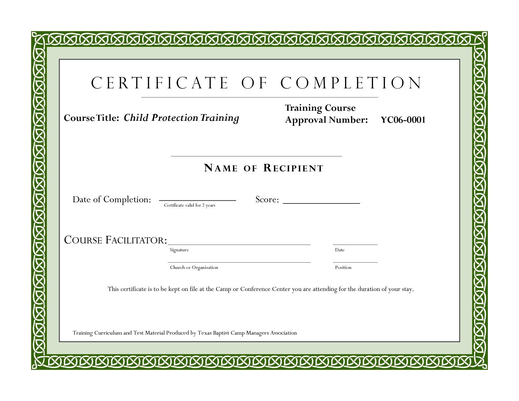 Course Completion Certificate Template  Certificate Of Training In Template For Training Certificate