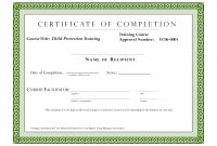 Course Completion Certificate Template  Certificate Of Training throughout Certification Of Completion Template